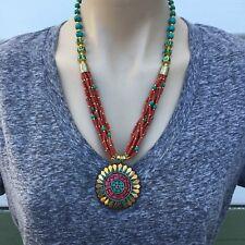 NL-165 Antique Handmade Nepalese Artisan Tibetan Turquoise Coral Necklace