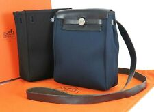 Auth HERMES Her Bag TPM Navy and Black Canvas and Leather Shoulder Bag #25882