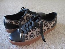New MICHAEL KORS Women Leather/Jacquard Logo Fashion Sneakers Shoes 8 M/38.5 EUR