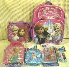 """Frozen Elsa Anna 16"""" Backpack,Lunch Bag,Party Bags,Jump Rope,Puzzle,Lip Balm-v3"""