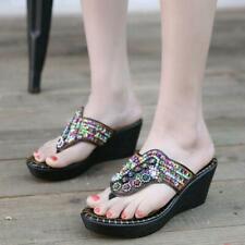 Slipper Sandals Summer Beading Pearl Wedge Womens Shoes Flip Flops Platform da@