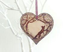 Fox woodland decoration wooden heart wall plaque ornament home decor interior