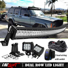"50"" Curved LED Light Bar+4"" Pods fog W/wiring 1993-98 Jeep Grand Cherokee ZJ 52"""