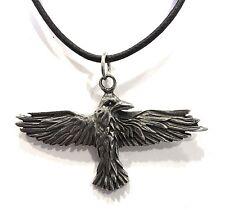 Raven Celtic Prophesy Morrigan Bird Pewter Pendant Charm Necklace