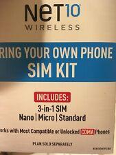 Net10 Keep Your Own Phone 3-in-1 Prepaid Sim Card Kit Gsm Unlocked