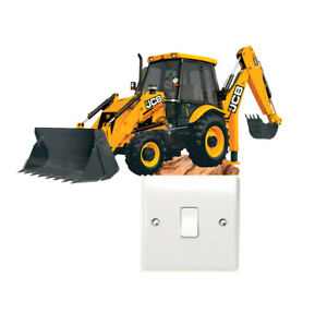 JCB Digger Light Switch Wall Sticker Childrens Bedroom Farm Tractor Construction