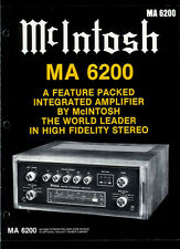 Rare Original Factory McIntosh MA 6200 Integrated Amplifier Amp Dealer Brochure