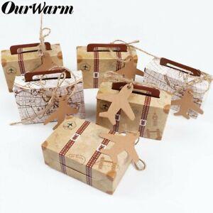 100x Suitcase Kraft Paper Candy Box Souvenir Gift Travel Themed Wedding Favours