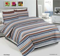 Stripe Duvet Cover with Pillow Case & Bed sheet Quilt Bedding Set All Sizes