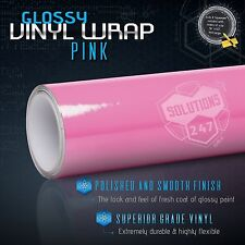 "Gloss Pink Glossy Vinyl Wrap Film Decal Bubble Free Air Release - 36"" x 60"" In"