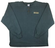 Vintage Champion Mens Sweater XL Pullover Button Green Made In USA