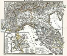 MAP ANTIQUE 1865 SPRUNER ROMAN NORTHERN ITALY LARGE REPLICA POSTER PRINT PAM1850