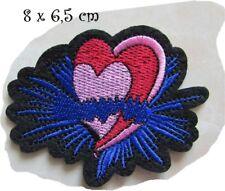 ÉCUSSON PATCH Applique thermocollant ** 8 X 6,5 cm ** Double coeur Noir Bleu