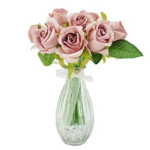 Blush Pink Bud Rose Artificial Flower Arrangement In Pretty Glass Vase (23cm) Ho