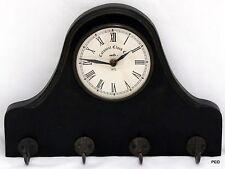 Colonial Clock Company Wood Wall Coat Hanger Battery Operated Prestige Movement