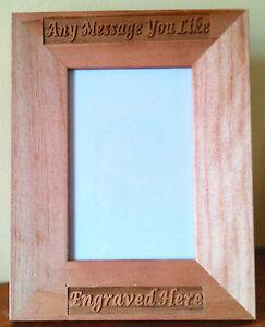 Personalised Wooden Photo Frame Laser Engraved Birthday Wedding Gift Custom