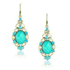 Vintage Jewellery Bronze and Turquoise Blue Drop Stud Earrings E468