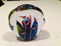 Vintage Large ITALIAN Solid Art-Glass 5-FISH AQUARIUM STYLE PAPERWEIGHT DISPLAY