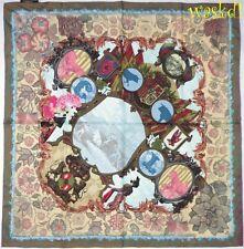 CHRISTIAN LACROIX khaki & mauve BULL Fight MATADOR silk Large scarf NWT Authentc