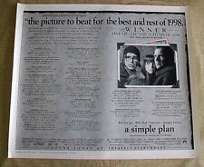 A SIMPLE PLAN original LA TIMES Review poster SAM RAIMI Bill Paxton BILLY BOB