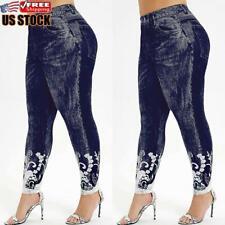 Plus Size Women's Ladies Printed Stretchy Denim Look Skinny Jeggings Leggings