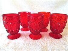 "Moon and Star Red Footed Tumblers 7 0z. 4 3/8"" tall"