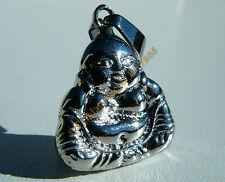 Collier Pendentif 100% Acier Bouddha Fengshui + Chaine