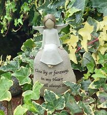 Angel Sentiment Stone Close By Or Faraway In My Heart 16cm Ornament Gift New