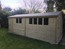 16 x 8 19mm Tanalised pressure treated T&G Heavy Duty Apex shed Double Door