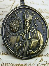 Antique Vatican Mint ROME Virgin of Montserrat St. Benedict Bronze Rosary Medal