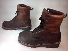 Men's Warson Group Florsheim Brown Leather 8Eye Waterproof Ankle Work Boots Sz12