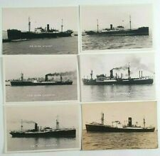 More details for clan line ships photo postcards x 6 - vintage shipping - merchant navy - feilden