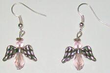 CHRISTMAS ANGEL EARRINGS-PINK CRYSTAL BEADS/SILVER WINGS