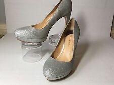 Gianni Bini Silver Glitter High Heel Pumps Platforms Size 8 - Great Condition!