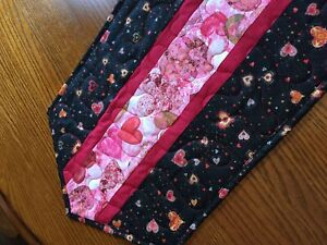 Handcrafted - Quilted Table Runner -Valentine's Day -Hearts in all Sizes & Stars
