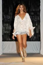 NEW MELISSA ODABASH WHITE EMBROIDERED KAFTAN  PONCHO SIZE MEDIUM