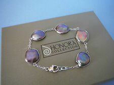 Honora - Sterling Silver - Fresh Water Pearl - Black Keshi Chain BRACELET - NWT