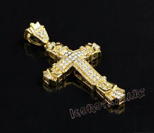 New Hip Hop Iced Out Bling 18k Gold Jesus Cross Crucifix Men Pendant Necklace