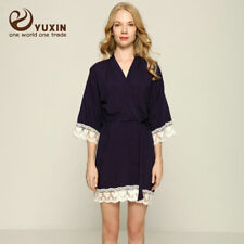 9f06b7d88d Cotton Bridesmaid Lace Robes With Trim Women Wedding Bridal Robe Short  Bathrobe L xl Navy