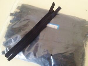 """BARGAIN JOB LOT 100 BLACK 8"""" INVISIBLE CLOSED END ZIPS"""