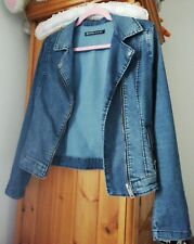 stradivarius womens biker demin zip jacket small
