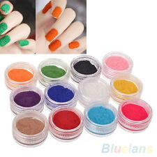 12 Colors DIY Art Glitter Gel Velvet Powder Nail Tips Polish Fingernails Dulcet