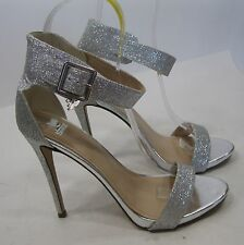"""Silver Glitter 5"""" Stiletto High Heel Toe/Ankle Strap Sexy Shoes Size 8"""