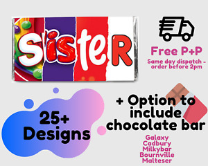 SISTER CHOCOLATE BAR WRAPPER | SISTER SIS Chocolate Wrapper Gift | FREE POST