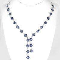 Sterling Silver 925 Genuine Natural Sapphire Floral Design Necklace 17 Inches