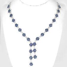 Plata esterlina 925 Zafiro Natural Genuino Diseño Floral Collar 17 pulgadas