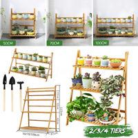 Flower Pot Plant Stand Rack Wood Shelf Garden Indoor Outdoor Patio 2/3/4  ♪ 1