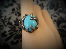 Bird Claw Talon Vintage Brutalist Abstract Sterling Silver Ring Robins Egg Stone