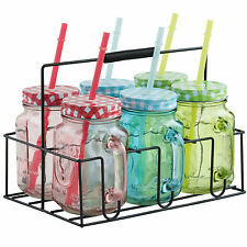 VonShef Mason Jar Set 6x Coloured Glass Drinking Jam Jar Straw Handles Holder