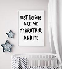 Brother Don't Grow Up Prints / Set Black & White Nursery Kids Boys Room Wall Art